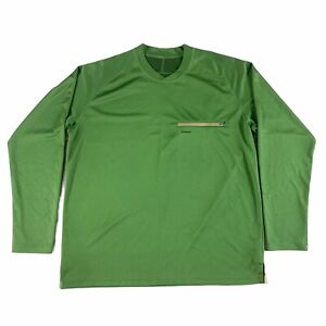 Patagonia Long Sleeve Fleece Zipper Pocket Fish Logo Green Men's XL READ