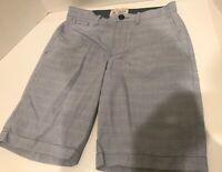 Original Penguin Blue Striped Cotton Sport Flat Front Shorts Mens Size 28