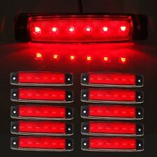 10 x 6 LED Front Side Marker Indicators Lights Red Truck Trailer Clearance Lamp