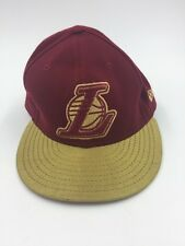New Era 59Fifty LA Lakers Red Gold LeBron James Cavaliers Fitted Cap NBA - EXC