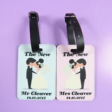Personalised mr and mrs PU luggage tags wedding present holiday suitcase Wedding