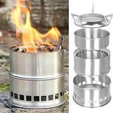 Portable Stainless Steel Wood Burning Camping Stove Tent Heater Cooking CQ1786
