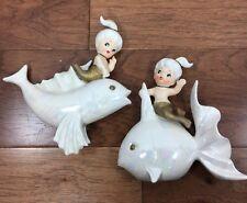 Vtg NORCREST Mermaid On White Iridescent Fish Pair Set Porcelain Wall Plaques