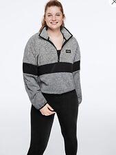 VS PINK Half Zip Cropped Knit Pullover Sweater Jacket M Grey Black Marl