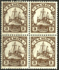 GERMAN OFFICES IN SAMOA, YEAR 1915-1919, MICHEL # 20, BLOCK OF 4, MNH