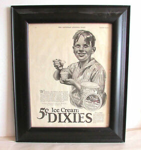 Framed 1926 Ad Vintage Saturday Eve Post Ice Cream Dixies Dairy Cups FREE SH