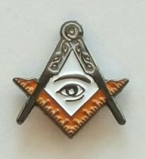 All Seeing Eye on white inside Silver & Gold Square and Compass  lapel pin