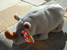 Beanie Babies Baby Ty Spike the Rhino Horn Tusk Grey 1996 Retired Collectible