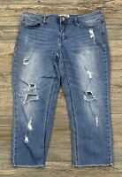 Seven7 Jeans Women's 14 Slim Straight Cropped/Capri Stretch Distressed Ripped