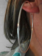 9CM EXTRA LARGE CLIP ON HOOPED SILVER EARRINGS HOOP GIANT PAIR NON-PIERCED EARS