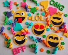 100 x Edible Emoji Cake Toppers BIRTHDAY CUPCAKE Confetti HASHTAG Hearts STARS
