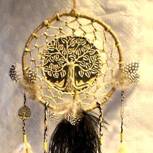 Traumfänger Baum des Lebens Dreamcatcher schwarz beige Naturfedern Handarbeit