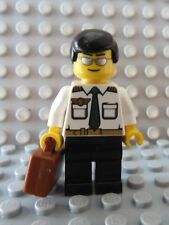LEGO Airline Pilot Black Hair White Shirt Sunglasses with Briefcase Suitcase