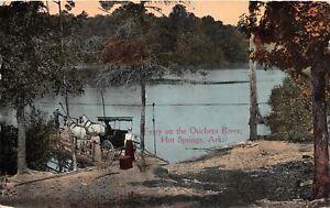 G95/ Hot Springs Arkansas Postcard 1915 Ferry On Oucheto River Horse Buggy