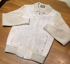 VTG Sears Sportswear Suede Knit Sweater Jacket Size Large Hipster Grunge
