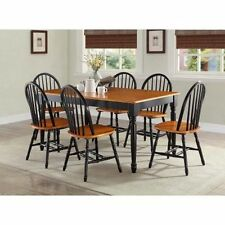 7 Piece Kitchen Dining Set Farmhouse Table 6 Chairs Solid Wood Home Furniture