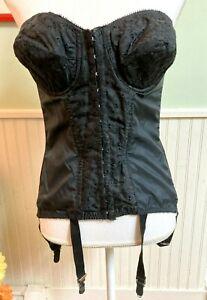 Vintage black lace corset bustier girdle with garters nylon underwire bra 1960's