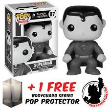 FUNKO POP DC SUPERMAN BLACK & WHITE EXCLUSIVE VINYL FIGURE + FREE POP PROTECTOR
