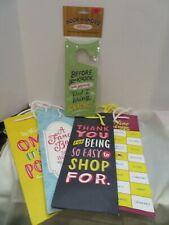 4 Emily McDowell & Friends Wine Gift Bags & a Fun 2 Sided Door Hanger Sign
