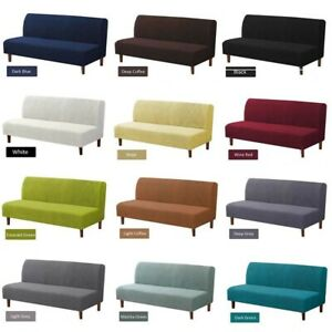 Armless Sofa Bed Cover Fleece Futon Stretch Elastic Folding Couch Slipcover