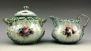 Antique Nippon Heavy Beaded Moriage Hand Painted Sugar Bowl and Creamer