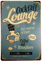 "Cocktail Lounge Retro Metal Sign 8"" x 12"""