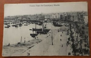 CADIZ SPAIN PASEO DE CANALEJAS Y MUELLE POSTCARD 1916 TARJETA POSTAL
