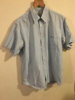 Lacoste Mens Blue and White Checked Short Sleeved Shirt Size XL Chest 44""