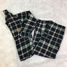 Ralph Lauren Womens Size Medium Green Plaid Flannel Sleepwear Pajamas