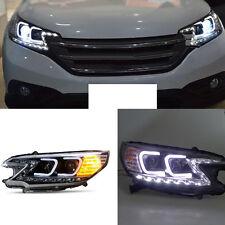 For Honda CRV 2012-2014 Angel Eye U-Tube Style Projector Black Headlights Set