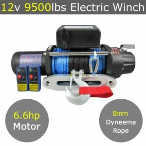 12V 9500lbs Electric Winch 8mm 25m Dyneema Synthetic Rope 9000lb 12000lbs 4X4