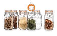 Set Of 6 Clear Glass Spice Jars Bottles Kitchen Storage Jar 5oz Airtight Seal