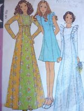 VINTAGE 1970'S McCALLS FOLK BOHO HIPPY MAXI SHORT RUFFLED DRESS SEWING PATTERN