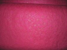 "7 yards by 58"" Kunim Felt Fabric York Tea Rose Embossed Floral Hot Pink"
