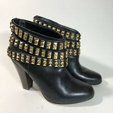 Betsey Johnson Camper Ankle Boots Size 8.5 Gold Wrap Studs Black Leather