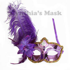 Purple Shiny Metallic Venetian Masquerade Mask w/Ostrich Feather Prom Party