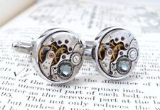 Watch Cufflinks with 'Black Diamond' Crystals. Modern Vintage Steampunk For Men.