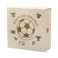 Boîte de trucs en bois incl. GRAVURE motif Live VOTRE RÊVE , petit joueur foot