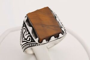 Turkish Handmade Jewelry Rectangle Tiger's Eye 925 Sterling Silver Men's Ring 12
