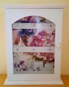 Shabby Chic Wooden Key Holder Box - Wall Mounted - Glass Door