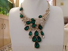 Brand new gold plated statement necklace green and clear crystals