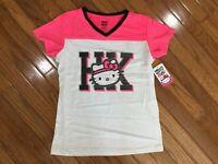 NWT Hello Kitty White Pink V Neck T-Shirt Tee Top Blouse Size 14 / 16  (HK-6)