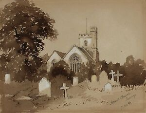 Horsell Church Surrey Signed CWF 19th Century Watercolour Drawing Sketch