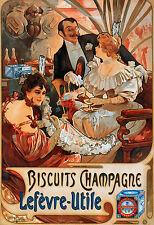 100% foto su tela art nouveau Alphonse Mucha BISCOTTI Champagne L U POSTER