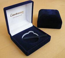 Coin Display Case - Deluxe Velvet Presentation Box - Navy Blue 75x75x40mm