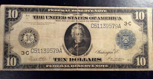 1914 frn $10.00 ten dollar large Federal reserve note +3 silver dimes +12 wheats