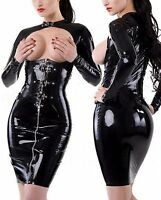 Sexy Lingerie Fetish Dress Open Bust Vinyl Clubeear Wet Look PVC Leather Bodycon