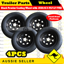 185R14C 8 PLY 14 inch Wheel Rim & Tyre Package x 4PCS Box Boat Trailers Caravan