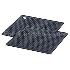 2 x IKEA HÄNGSYREN (Hangsyren) Grey Silicone Rubber Heat Resistant Mats/Trivets