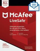 Mcafee LiveSafe 2019 ✅1 Year Subscription-Unlimited Device✅100% Original Account
